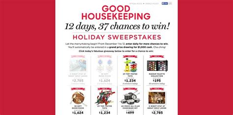 Good Housekeeping Sweepstakes 2015 - goodhousekeeping com 12days good housekeeping 12 days of giveaways sweepstakes