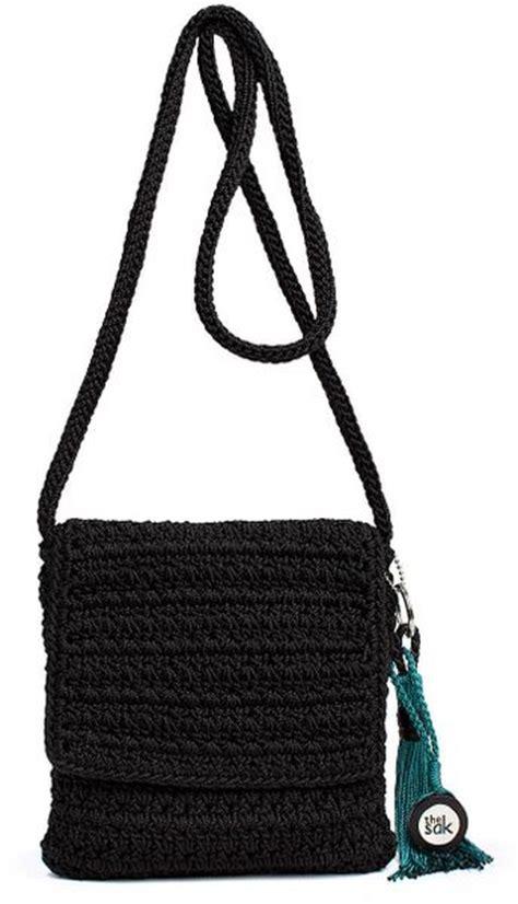the sak casual classics crochet flap shoulder bag in black