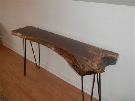 live edge sofa table legs live edge cherry console table with hairpin legs mid