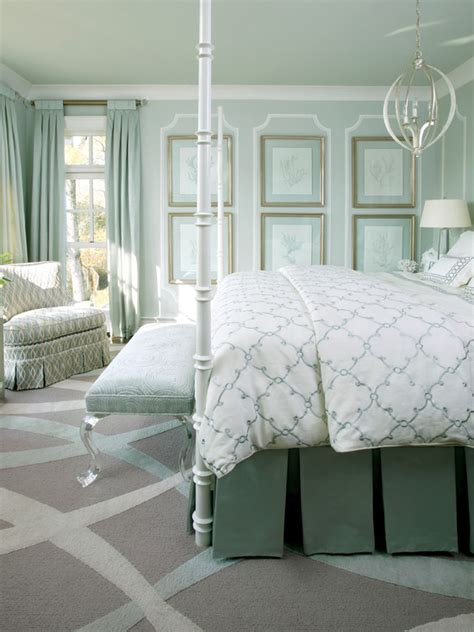 seafoam green bedroom lucite bench transitional bedroom sherwin williams pearl gray tobi fairley