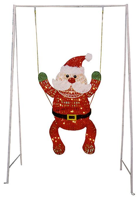 swinging baby santa claus lighted christmas yard art
