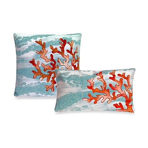 bed bath and beyond outdoor pillows liora manne outdoor throw pillow collection in coral wave