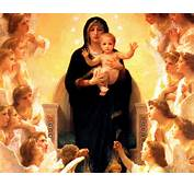 Mother Mary Caring Child Jesus In Her Hands And Angels Praying