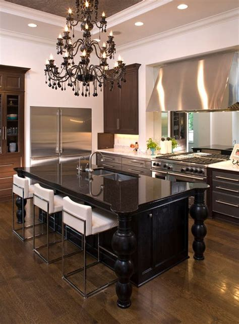 Kitchen Island Chandeliers | elegant and sumptuous black crystal chandeliers