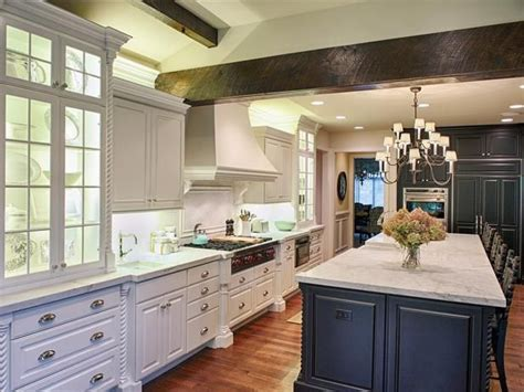 kitchen cabinets with contrasting color island