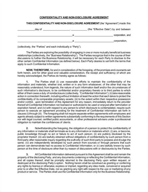 confidentiality and nondisclosure agreement template 14 confidentiality agreement sles templates pdf