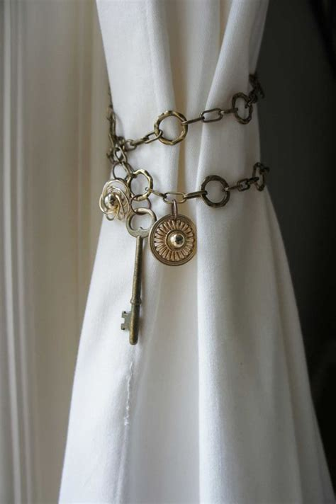 unique curtain tie back ideas curtain tieback antique brass chain skeleton key shabby