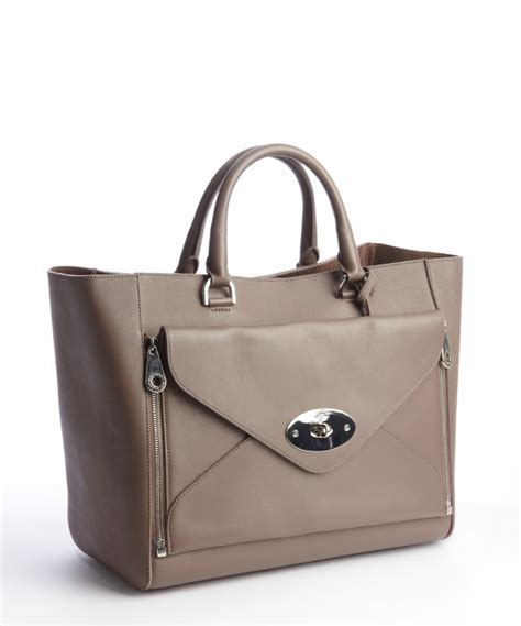Artist Julie Verhoeven For Designer Mulberry Shopper Tote by Lyst Mulberry Taupe Leather Willow Tote Bag In Brown
