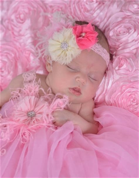 pink baby headband beautiful flower headband delicate newborn baby boutique clothing gowns take