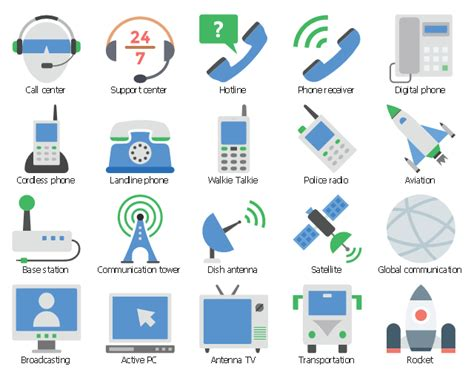 Floor Plan Icons by Telecommunication Network Diagrams Design Elements