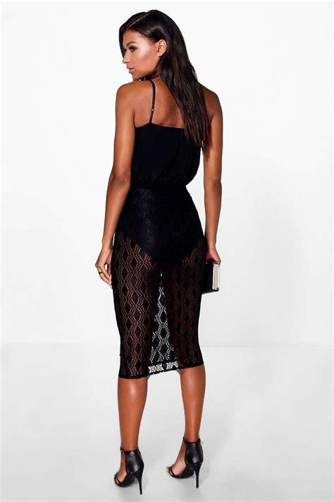 Gyefa Flowery Overlap Midi Skirt Boohoo Womens Orla Lace Overlay Midi Skirt Ebay