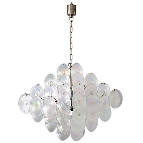 vistosi chandelier vistosi iridescent discs large chandelier at 1stdibs