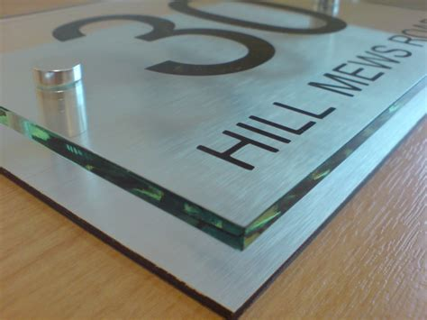 Glass Door Numbers Plaques House Number Sign Plaque Modern Aluminium Glass Effect Ebay