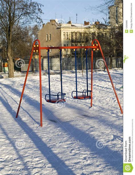 winter swing swing in winter park stock photo image 12926880