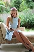 Beautiful Blonde Girl Blue Polka Dot Dress