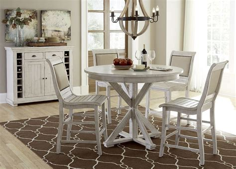 Distressed Dining Room Furniture Willow Distressed White Counter Height Dining Room Set From Progressive Furniture