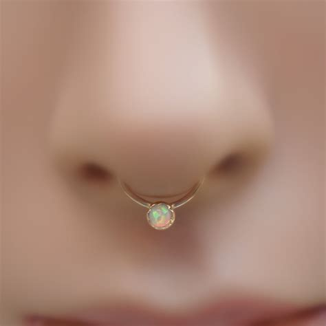 white opal septum ring nose ring 14k yellow gold filled