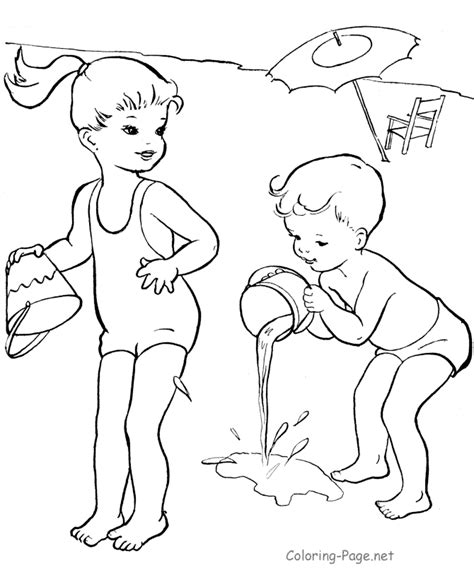 summer coloring book pages beach coloring page