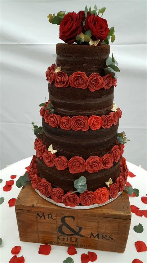 Chocolate Wedding Cakes by Chocolate Tiered Wedding Cake With Handmade Roses