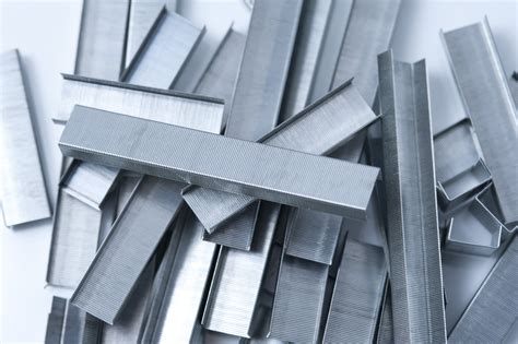 stock photo  random arrangement  metal staples