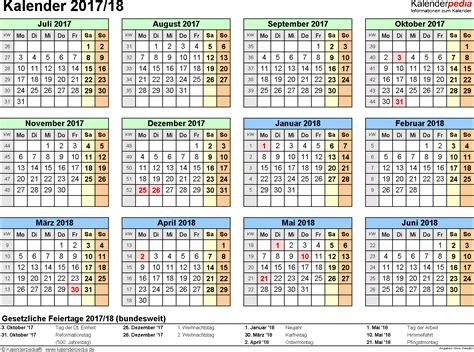 halbjahreskalender 2017 2018 als pdf vorlagen zum ausdrucken
