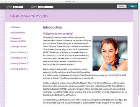 eportfolio templates sle blackboard portfolio layouts