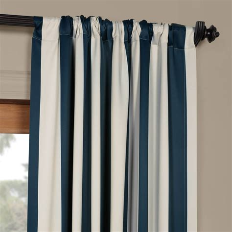 Creme Navy navy striped blackout curtain