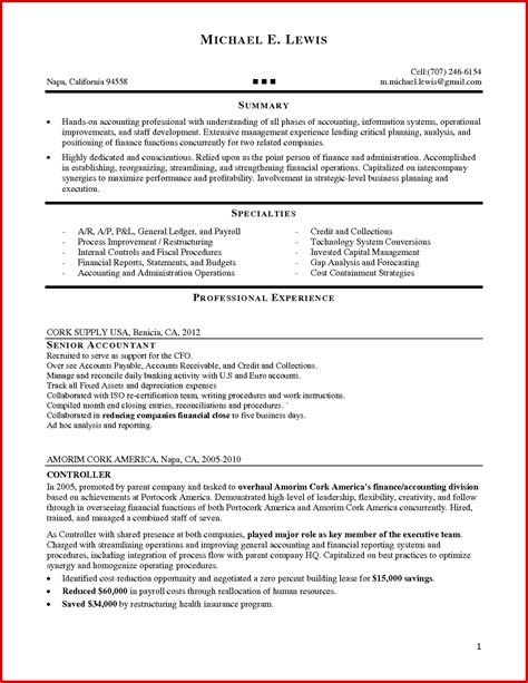 new accounting manager resume sle mailing format