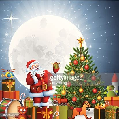 santa claus with tree images santa claus with tree vector getty images
