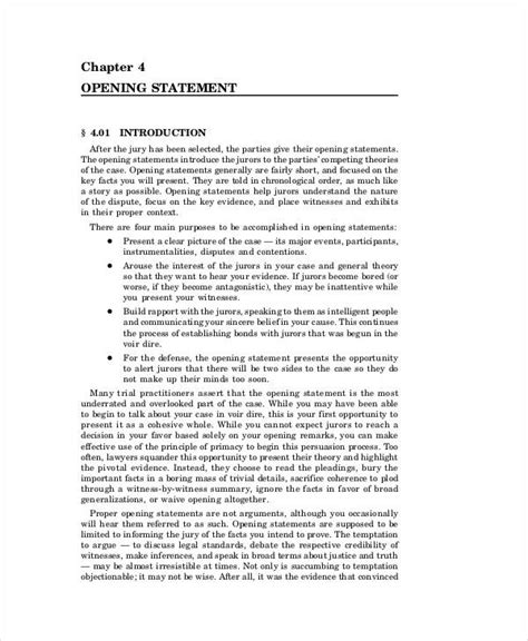 opening statement examples samples    examples
