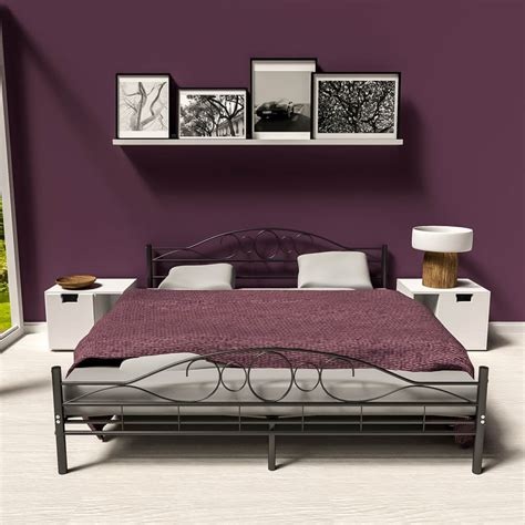 Luxurious Bed Frames Metal Bed Frame King Size Modern Luxury 180x200cm Black Slatted Frame