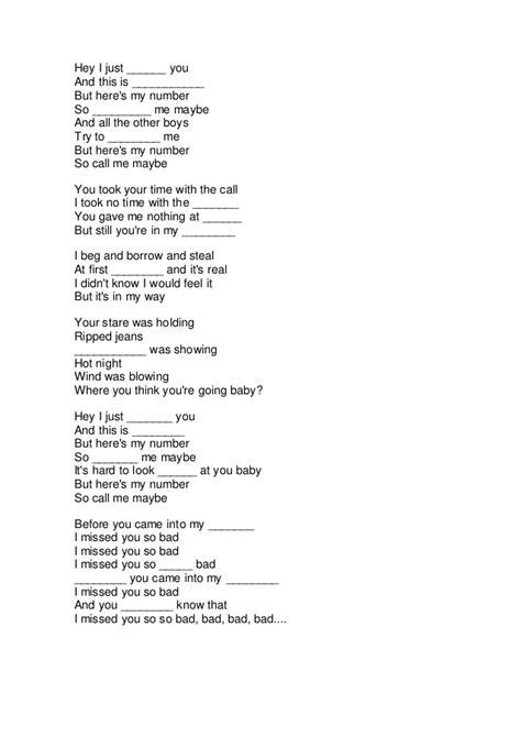 call me a lyrics complete the lyrics call me maybe