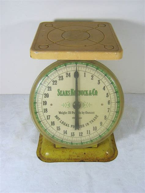 antique kitchen scale yellow sears accurate to 25 lbs