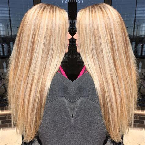 dark hair base with platinum highlights golden blonde base with platinum highlights and neutral
