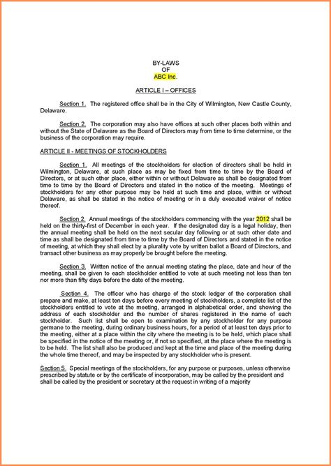 Template Certificate Of Incorporation Template Operating Agreement Template Incorporation