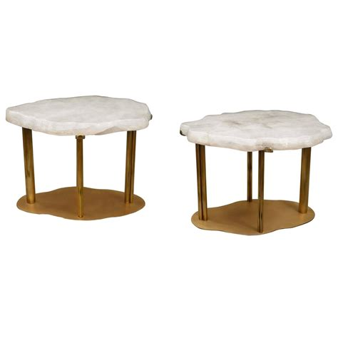 pair of cloud rock quartz cocktail tables at 1stdibs