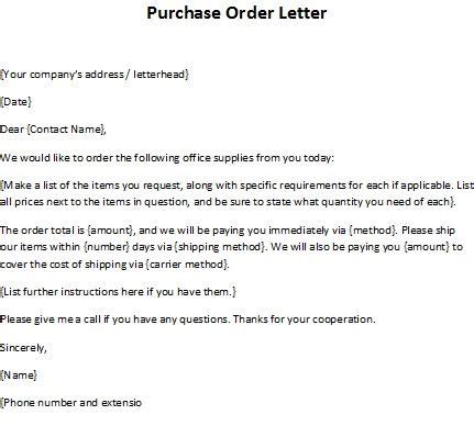 order letter sample