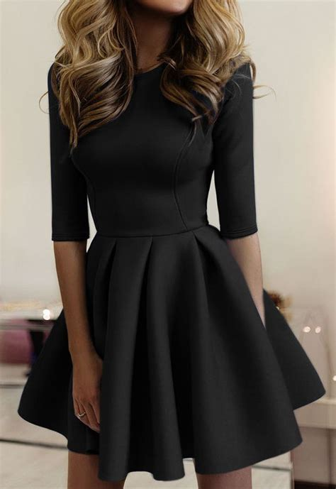 7 Great Dresses To Wear On A Date by Black Pleated Neck Half Sleeve Homecoming