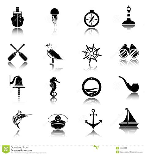 Set Kulo Bell Monocrome Hnc nautical icons set black stock vector image 44323566