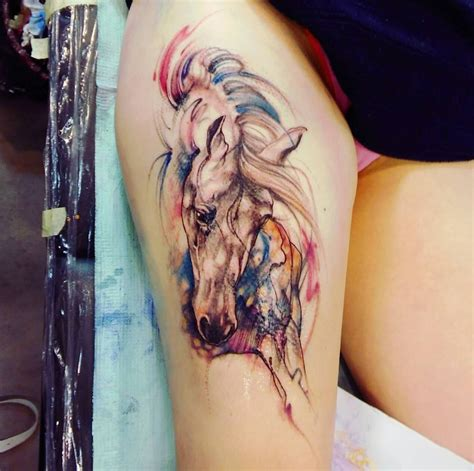watercolor tattoo horse by michalina bolach falkaart