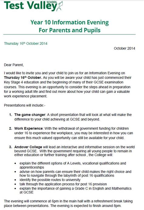 Parent Governor Vacancy Letter Test Valley School Year 10 Information Evening For