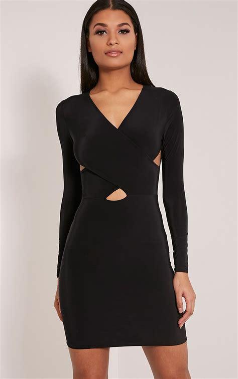 Dress Tamaya by Tamaya Black Sleeve Cross Front Bodycon Dress