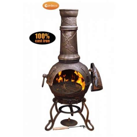 chiminea bbq grill buy gardeco toledo large grapes cast iron chiminea with