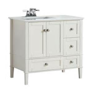 36 Vanity Top With Offset Sink Simpli Home Chelsea 36 In W Vanity In Soft White With