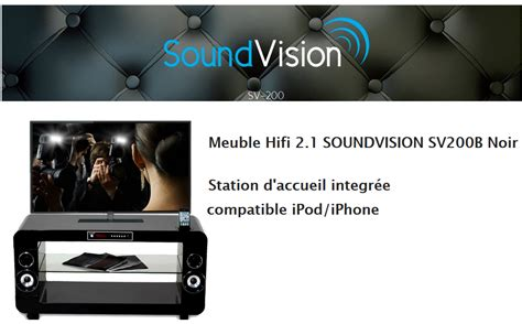 sv200b noir meuble tv lifi 233 soundvision pas cher 224