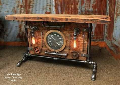 Desk Ideas Diy steampunk industrial table lamp stand console barn wood