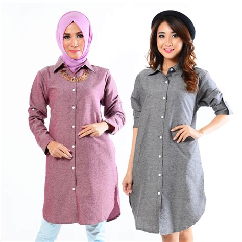 Blouse Tunik Panjang Wanita Terbaru Raflesia 7g5z tunik blouse denim lengan panjang lengan pendek 2 model elevenia