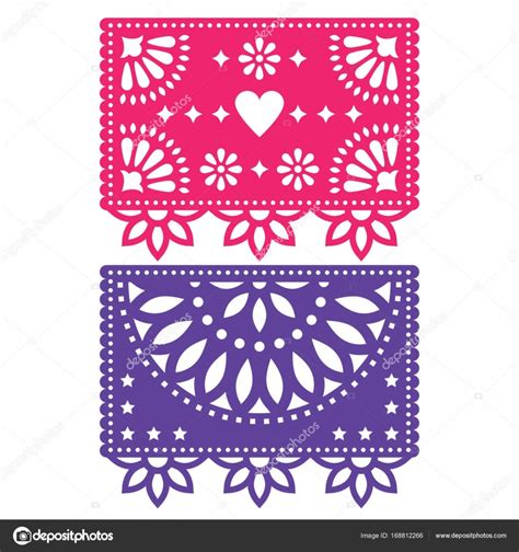 cadenas de papel picado papel picado vector template design set mexican paper