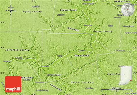 physical map of indiana physical map of switzerland county