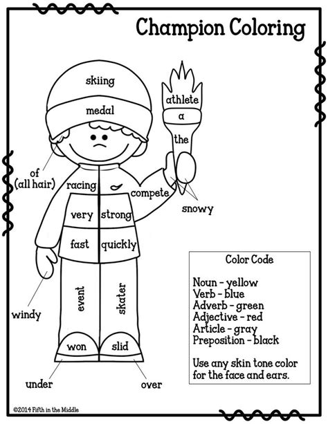 coloring page parts of speech beginner parts of speech color activity nouns verbs adjectives
